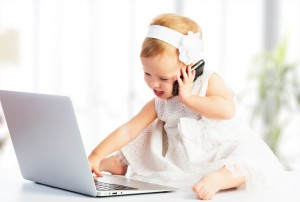 baby girl with computer laptop, mobile phone